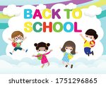 back to school for new normal... | Shutterstock .eps vector #1751296865