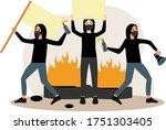 the mob of demonstrators began...   Shutterstock .eps vector #1751303405
