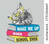 sleeping cat in glasses sleep... | Shutterstock .eps vector #1751304665