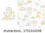 rainbow pattern and lettering... | Shutterstock .eps vector #1751316248