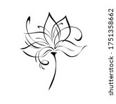 one stylized flower with large...