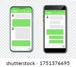 set of smartphones with blank...