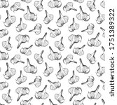 seamless pattern of garlic on...   Shutterstock .eps vector #1751389322