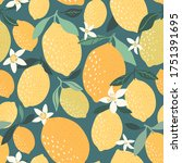 decorative lemon pattern... | Shutterstock .eps vector #1751391695
