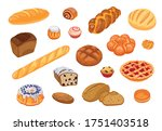 bread assortment flat icon set. ... | Shutterstock .eps vector #1751403518