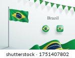 brazil flag 3d elements waving... | Shutterstock .eps vector #1751407802