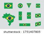 brazil flag flat icon different ... | Shutterstock .eps vector #1751407805
