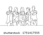 single line drawing group of... | Shutterstock .eps vector #1751417555