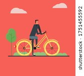 character design bike flat art | Shutterstock .eps vector #1751455592