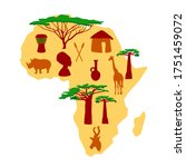 africa concept with sketch... | Shutterstock .eps vector #1751459072