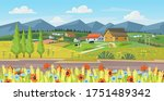 farm panorama with fields ... | Shutterstock .eps vector #1751489342