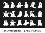 white silhouette ghost set.... | Shutterstock .eps vector #1751492408