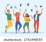 group of four friends... | Shutterstock .eps vector #1751498555