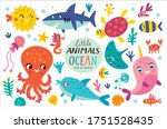 set with ocean creatures.... | Shutterstock .eps vector #1751528435
