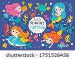 set with mermaids and ocean... | Shutterstock .eps vector #1751528438