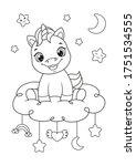 happy baby unicorn sitting on...   Shutterstock .eps vector #1751534555