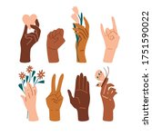 palm collection. different skin ...   Shutterstock .eps vector #1751590022