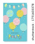 happy birthday greeting card... | Shutterstock .eps vector #1751603378