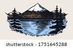 mountain peaks  vintage rock ... | Shutterstock .eps vector #1751645288