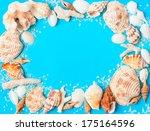 frame from assorted seashells... | Shutterstock . vector #175164596