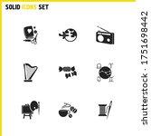 activity icons set with radio ...