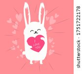 Cute White Rabbit On A Pink...
