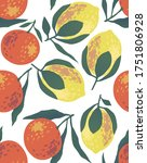 seamless pattern with lemons...   Shutterstock . vector #1751806928