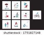 people in medical masks hand... | Shutterstock .eps vector #1751827148