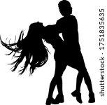 black silhouettes dancing man... | Shutterstock .eps vector #1751835635