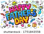 fathers day concept. happy... | Shutterstock .eps vector #1751843558