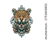 jaguar and skull  hand drawn... | Shutterstock .eps vector #1751843852