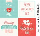 set of hipster typographic love ... | Shutterstock .eps vector #175184606