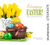 easter eggs with spring flowers ... | Shutterstock . vector #175192475