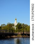 Small photo of Nikolsky skit on Valaam island as seen from Ladoga lake, vertical photo of beautiful nature. Pilgrimage and vacation concept