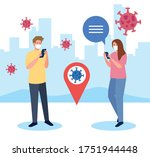couple wearing medical mask...   Shutterstock .eps vector #1751944448