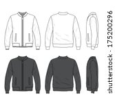 Blank men's bomber jacket with zipper in front, back and side views. Isolated on white.
