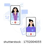 smartphone with online clinic... | Shutterstock .eps vector #1752004055