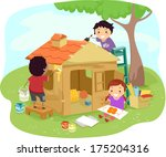 illustration of kids building a ... | Shutterstock .eps vector #175204316