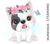 cute little dog with floral... | Shutterstock .eps vector #1752043442