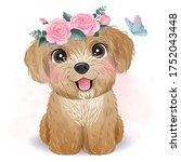 cute little poodle with floral... | Shutterstock .eps vector #1752043448