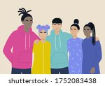 lgbtq pride  a diverse group of ... | Shutterstock .eps vector #1752083438