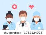 doctors and nurses in medical... | Shutterstock . vector #1752124025
