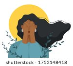 depressed woman cover her face... | Shutterstock .eps vector #1752148418