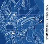 V8 Car Engine Cad Cartoon Whit...