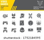 video games glyph icon set ...   Shutterstock .eps vector #1752184595