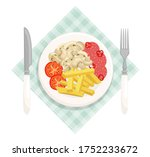 fried potatoes with mushrooms ... | Shutterstock .eps vector #1752233672