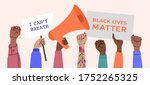 black lives matter  crowd of... | Shutterstock .eps vector #1752265325