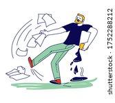 male character slipping on wet... | Shutterstock .eps vector #1752288212
