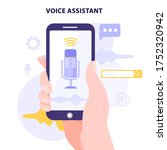 voice recognition concept. hand ... | Shutterstock .eps vector #1752320942