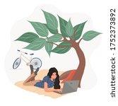 girl is working in the fresh... | Shutterstock .eps vector #1752373892